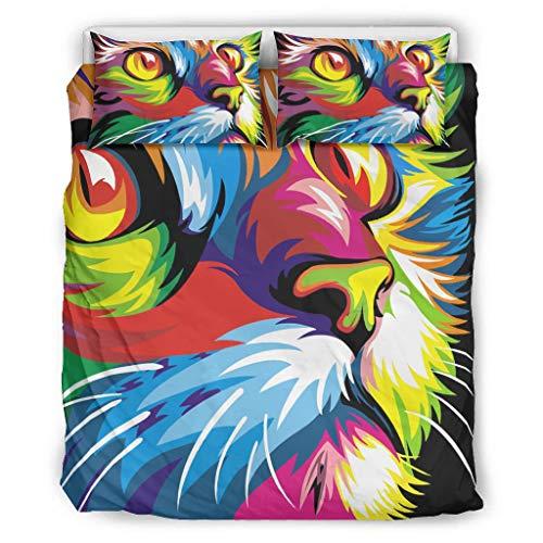 Karela driedelige pak meerkleurig tweepersoonsbeddengoedset, bedrukt beddengoedset Colorful Animals