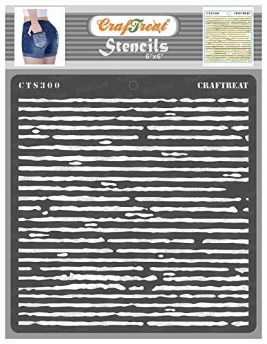 CrafTreat Musterschablonen zum Malen auf Holz, Leinwand, Papier, Stoff, Boden, Wand und Fliesen – gewellt – 15,2 x 15,2 cm – wiederverwendbare DIY-Kunst- und Bastelschablonen – Musterschablone
