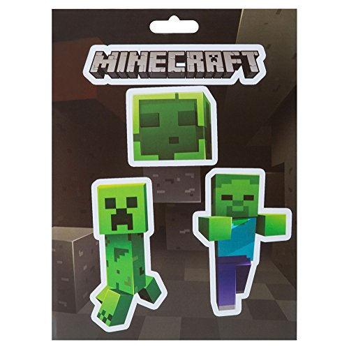 JINX Minecraft Mobs Caves Sticker Pack, Multi-Colored, 4 Multi-Size Stickers