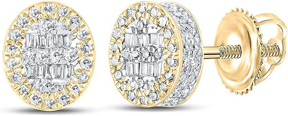 10kt Yellow Gold Mens Baguette Diamond Oval Earrings 3/8 Cttw