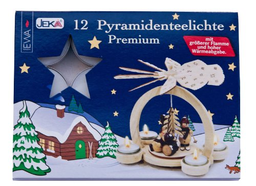 Premium PYRAMIDEN TEELICHTE für Holz-Pyramiden / 12 Stück