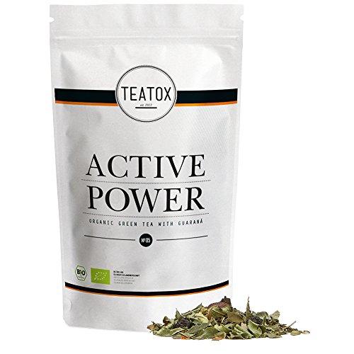 Teatox Bio-Grüntee ACTIVE POWER für einen aktiven & sportlichen Lebensstil   loser grüner Tee mit Chili, Aroniabeere & Guarana   100% biologisch & vegan, ohne Aromen & Zusätze   70g im Ziplock-Beutel