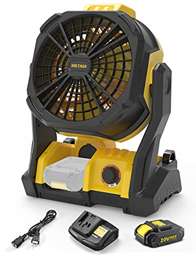VOLTAGA 工業用扇風機 工場扇 扇風機 キャンプ 業務用 充電式 強力 IP54 家庭用&屋外両用 2000mAh 無段階風量調節可能 熱中症対策