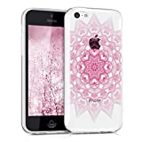 kwmobile Carcasa Compatible con Apple iPhone 5C - Funda de TPU hindú en Rosa Claro/Blanco/Transparente