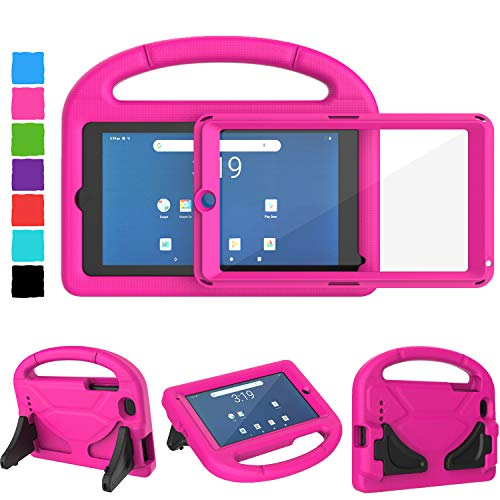 """Tirin Kids Case for Walmart Onn 7 inch Tablet, Built-in Screen Protector, Shockproof Handle Stand Cover Case for Surf Onn 7"""" Android Tablet 2020/2019 (Model:100005206/100015685),Rose"""