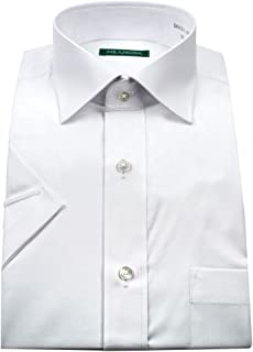 ミラモーダ(MILA MODA)形態安定・防汚加工・スリムフィット・ブロード・ワイドカラー・ドレスシャツ・半袖