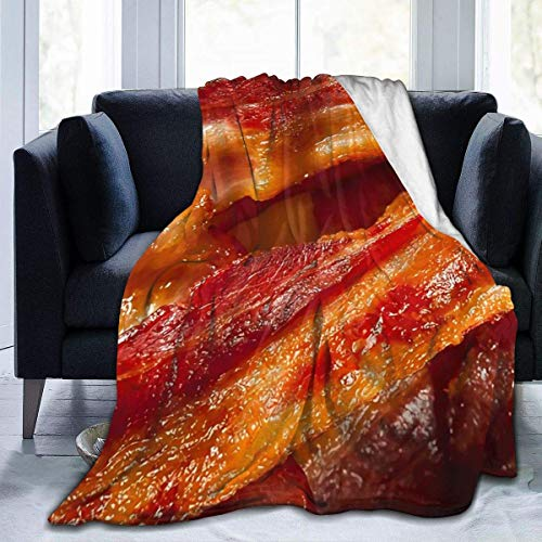 shenguang Super-Soft Delicious Crispy Bacon Background Micro Fleece Blanket,Suitable for Sofa Blankets for Adults And Children, Bed Blankets 80'' x60