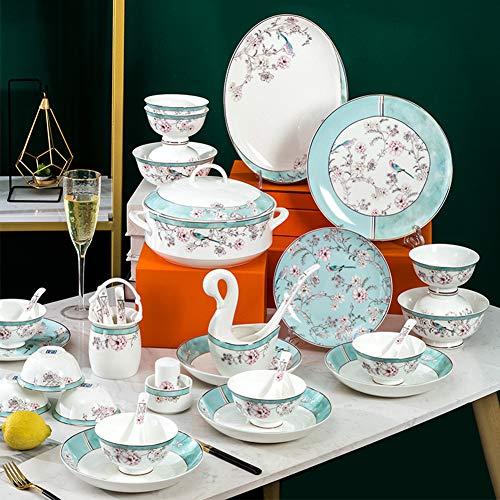 XLNB Juego de vajilla de porcelana de 52 piezas, diseño de flores y prado, para fiestas, fiestas, fiestas, reuniones familiares, color verde