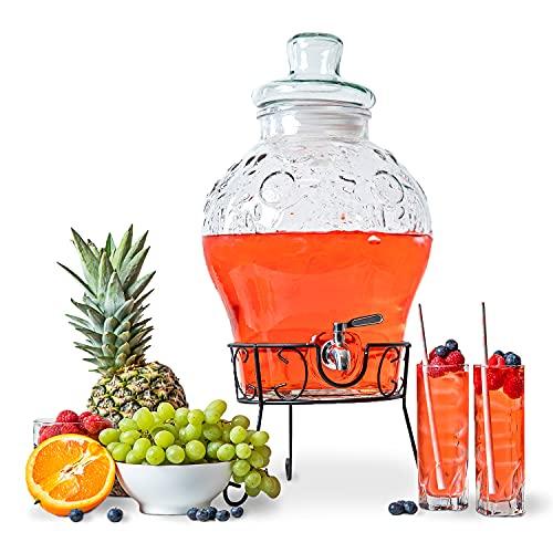 Astor24 Glaskaraffe - Getränkespender mit Edelstahl Zapfhahn und Ständer- 10 Liter - Wasserspender - Karaffe für Bowle und Cocktails - Limonadenspender aus Glas - Glasfass (10 Liter)