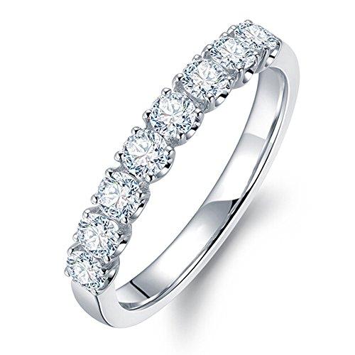 Sencillo Brillante Diamante Sólido 14K Oro blanco Compromiso Boda Anillo para Mujer(0.28cttw, G-H Color, VS-SI1 Claridad)