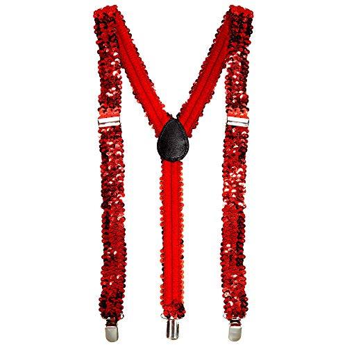 Widmann 8157S Hosenträger aus Pailletten, Rot, one Size