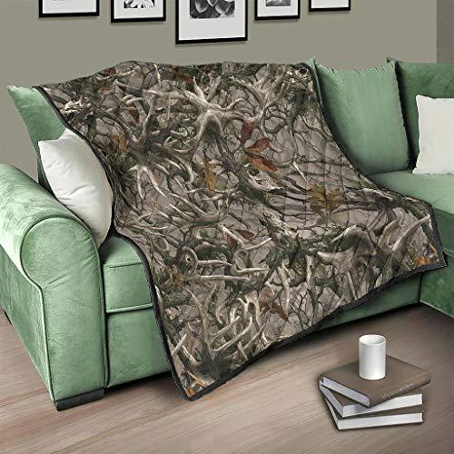 Flowerhome Holz Camouflage Tagesdecke Steppdecke Bettdecke Bettüberwurf Sofadecke Couchdecke Schlafdecke Überwurfdecke für Sofa Couch Bett White 150x200cm