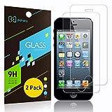Didisky Protector de pantalla de cristal templado para iPhone 5 / 5S / 5C / SE, [2 unidades] [tacto suave] Fácil de limpiar, fácil de instalar, transparente