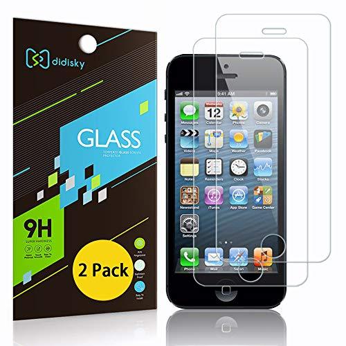 Didisky Pellicola Protettiva in Vetro Temperato per iPhone 5 / 5S / 5C / Se, [2 Pezzi] Protezione Schermo [Tocco Morbido ] Facile da Pulire, Facile da installare, Trasparente