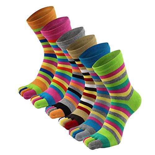 AIEOE 6 Paar Damen Streifen Zehensocken Baumwolle Laufende Fünf Finger Socken Sneakersocken Sport Toe Socks