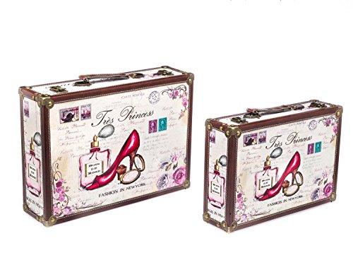 aubaho Kofferset Koffer Box Kiste Holz Schatzkiste Holzkoffer antik Stil Tress Princess