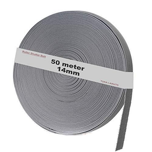 TUKA-i-AKUT 50 m Rolladengurt, 14mm x 50m Rolle Stabiler Gurtband für Rollladen, speziell verstärkte Webkanten, hohe Reißfestigkeit Scheuerfestigkeit, UV Beständigkeit, Grau, TKB5201 Grey
