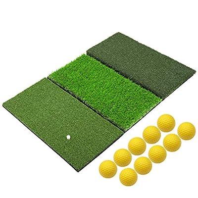 SkyLife 3-Turf Golf Hitting Grass Mat 24'' x 37'', Portable Training Fairway Rough TEE Turf, Driving Chipping Putting Golf Equipment, Home Backyard Garage Outdoor Practice (XL 24'' X 37'')