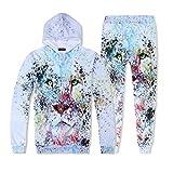 VEZAD Store Men's 2pc Tracksuit Outfit Casual 3D Galaxy Print Hoodie Sweatshirt Pants Set