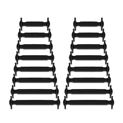 Newkeen sin corbata Cordones de zapatos para niños y adultos cordones de zapatos de atletismo atlética de silicona elástico plano de los zapatos del tablero Sneaker boots (Black)