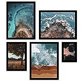 Conjunto Paisagens Praia E Mar Kit Com 5 Quadros Decore Pronto Multicor Médio