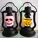 Uonlytech 2 pezzi per set luce notturna di halloween, lampada da tavolo a forma di teschio halloween lanterna decorativa stile misto