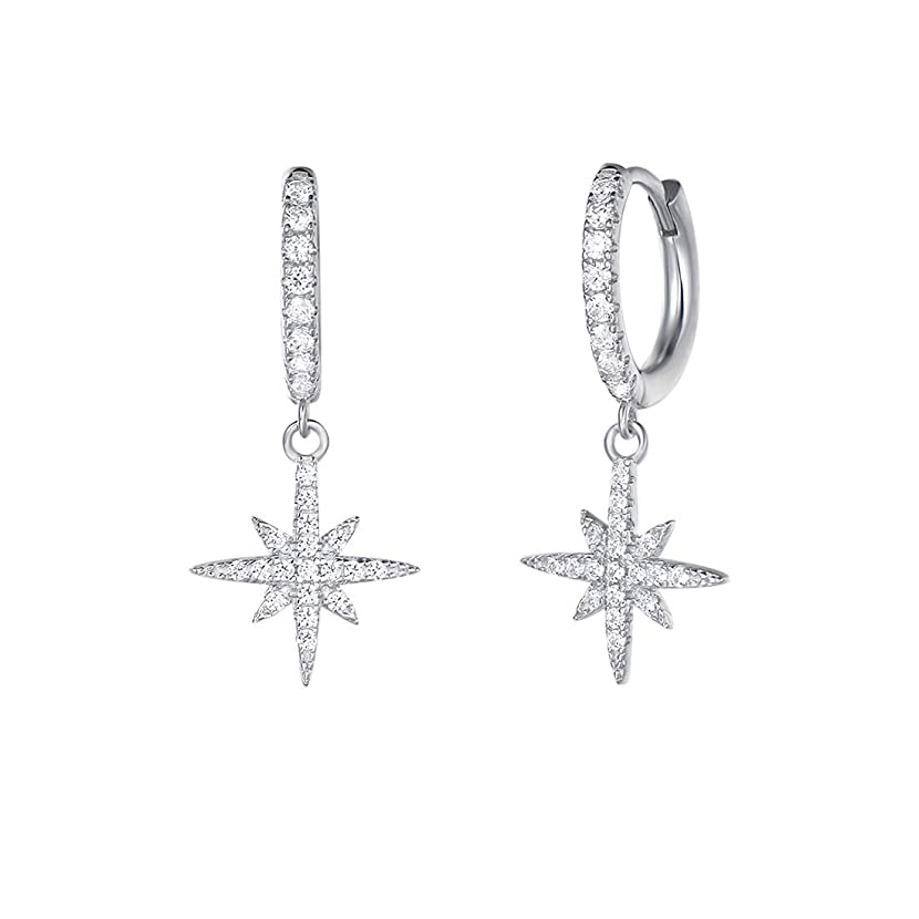 Carleen White Gold Plated 925 Sterling Silver CZ Cubic Zirconia Feather/Evil Eye/Turtle/Sunflower Daisy/Star Dangle Drop Small Hoop Earrings For Women Girls