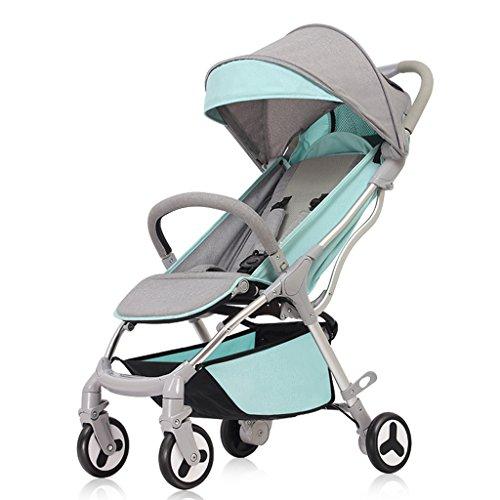 0-3 anni di età bambino quattro ruote passeggini pieghevoli a mano singola, moda ultra-leggero portatile ombrello carrello neonato, altezza regolabile in lega di alluminio passeggino ( Color : Green )