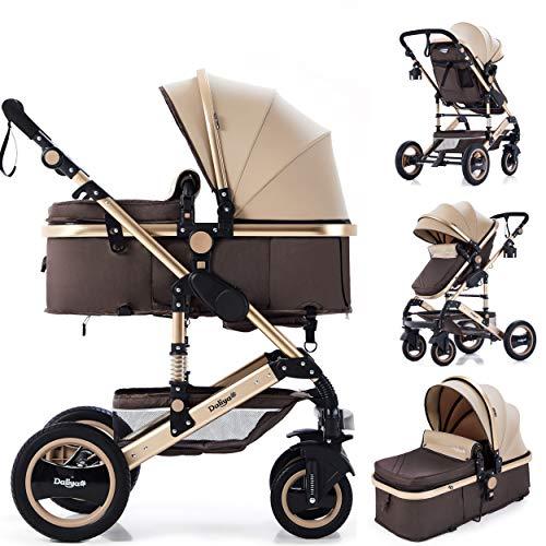 Daliya Bambimo 2in1 Kinderwagen - Kombikinderwagen 9-Teiliges Set incl. Babywanne & Sportsitz/Buggy - 1-Klick-System/Alu-Rahmen/Voll-Gummireifen/Sonnenschutz/Getränkehalter in Gold-Braun