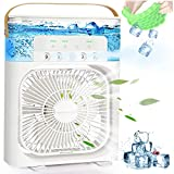 Portable Air Conditioner Fan, 4 in 1 900ML Water Tank Cooling Fan Personal Air Cooler, 1/2/3 H Timer USB Desk AC Cooling Fan with 7 Colors LED Light, 5 Sprays, 3 Wind Speeds Modes for Office Home