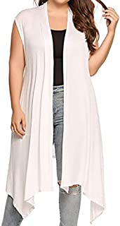 NUONITA Women's Cardigan Vest Plus Size Sleeveless Long Cardigans Duster Draped Open Front Asymmetric Hem