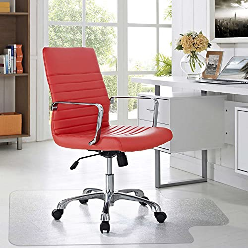 AECCN Bürostuhl Unterlage - Hochwertige Bodenschutzmatte aus Polycarbonat für Schreibtischstuhl Hartholzboden, rutschfest & Transparent (91,4 cm x 122 cm mit Lippe)