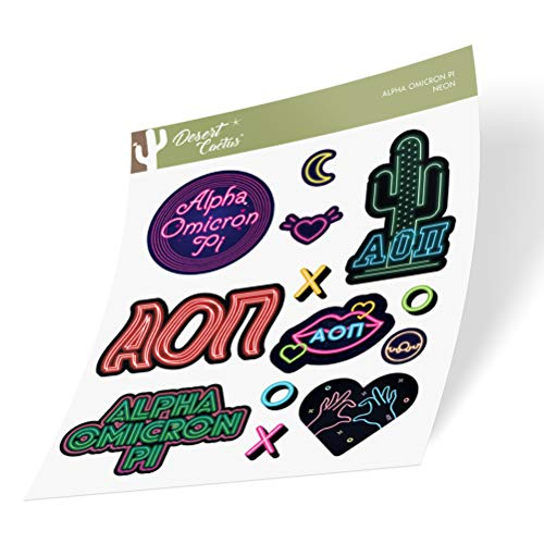 Alpha Omicron Pi Sticker Decal Laptop Water Bottle Car (Neon Sign Sheet)