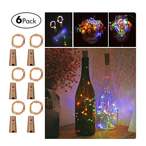GardenDecor Wine Bottles String Lights, 6 Packs Micro Artificial Cork Copper Wire Starry Fairy Lights, Battery Operated Lights for Bedroom, Parties, Wedding, Decoration(6 Packs 2m/7.2ft,Mutil Color)