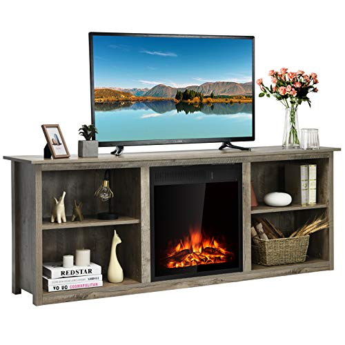 Tangkula Fireplace TV Stand, Entertainment Center w/22.5 Inches Electric Fireplace, Television Stand for TV Up to 75 Inches, Heater with Remote Control & Adjustable Brightness (Grey)