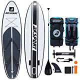 AKSPORT 10'6'×30'×6' Inflatable Stand Up Paddle Board with Premium Non-Slip Deck,Travel Backpack,Adjustable Paddle,Pump,Leash for Youth & Adult Ultra-Light Surfing ISUP (Black)