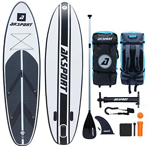 AKSPORT 10'6'×32'×6' Inflatable Stand Up Paddle Board with Premium Non-Slip Deck,Travel...