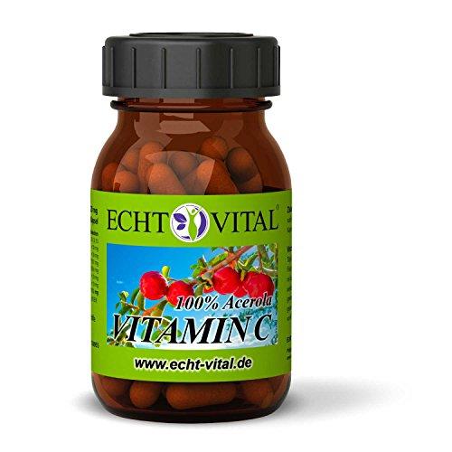 ECHT VITAL Vitamin C Kapseln | 100% Acerola Kirsche | Vergleichssieger 2019/11* | 60 Vit C Kapseln | Hochdosiert, Natürlich, Rein, Laborgeprüft, Markenqualität, Vegan