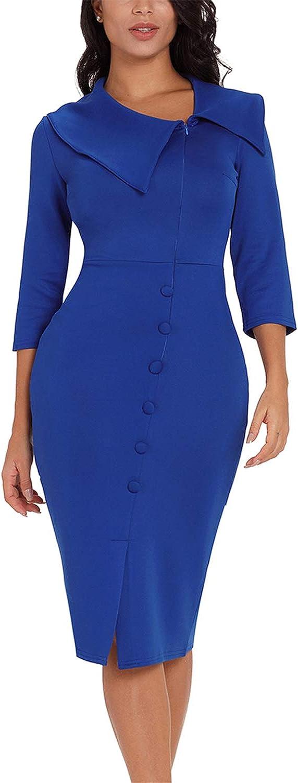 Asyoly Women Casual 3 4 Long Sleeve Button Detail Zipper Front Bodycon Midi Dress