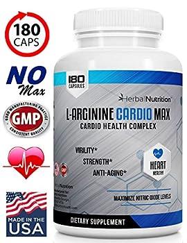 L-Arginine Cardio Max 1500mg Cardio Support Blend Plus L-Citrulline Vitamins Minerals Supports Cardio Health Blood Pressure Cholesterol Energy Nitric Oxide One Bottle 180 Caps