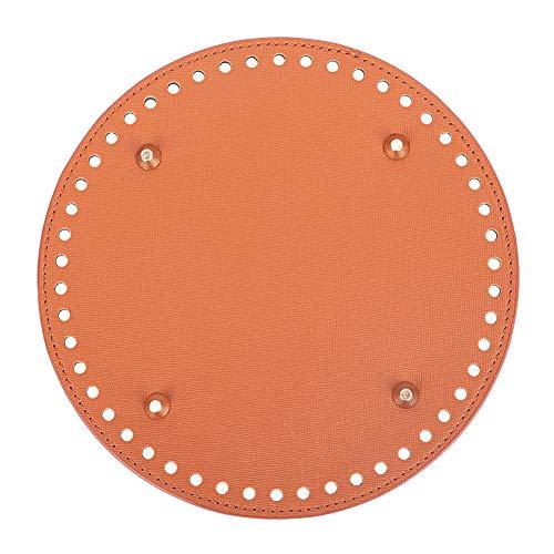 PandaHall 1 unid 7.4 pulgadas PU cuero plana redondo tejer ganchillo bolsas de uñas parte inferior Shaper Pad cojín base con 50 agujeros bolso DIY bolsas de hombro accesorios, marrón