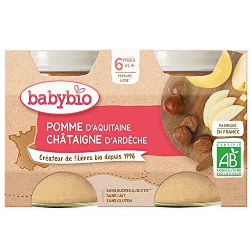 Babybio - Petits Pots Pomme Chataigne 2x130 g - BIO - Lot de 3