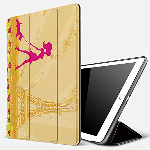 Case for iPad Air 10.2(2019/2018),Teen Decor,Pink Silhouette of A Girl with the Dog Eiffel Tower in Paris Design Decorative,Cover with Auto Sleep Wake Feature, Slim Lightweight Stand Protective Case