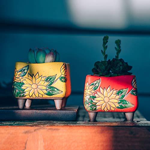 Sungmor Set van 4 - Mooie Handwerk Bloem Stijl Keramische Planter - Succulente Cactus Plant Pot - Mooie Desktop Vensterbank Landschap Bloempot - Huis & Kantoor Decor Pots - Eenvoudige Gift Idee 6.5CM/2.6