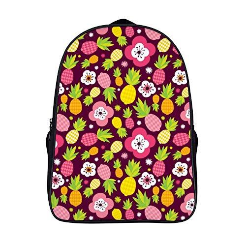 XIAHAILE Kompakte Rucksack Büchertasche für Männer und Frauen, leichter Rucksack für Schul und Urlaubsreisen,Sommer Ananas Schnittmuster