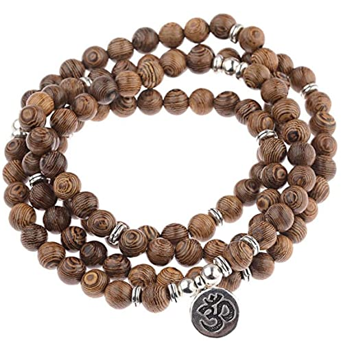 Zonster 108 Beads Multilayer Wood Beads Buda Meditación Tibetan Charm Rosario Pulsera Yoga para Mujeres Y Hombres