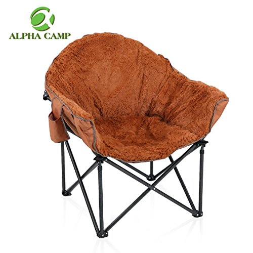 ALPHA CAMP Plush Moon Saucer Chair with Carry Bag - Supports 350 LBS, Brown