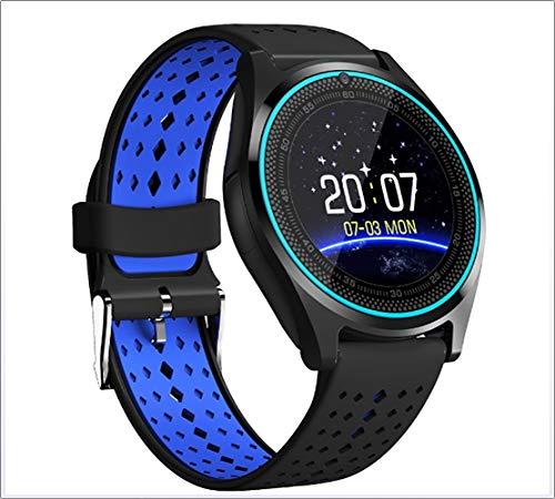Bluetooth Smart Watch Telefon V9 mit 2G SIM/SD-Karte Relogios mit Kamera Sport Smartwatch Männer für Android,Blue