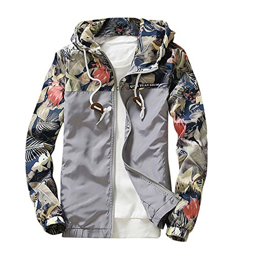 Floral Bomber Jacket Men Hip Hop Slim Fit Flowers Bomber Jacket Coat Men's Hooded Jackets (XXL, Grey)