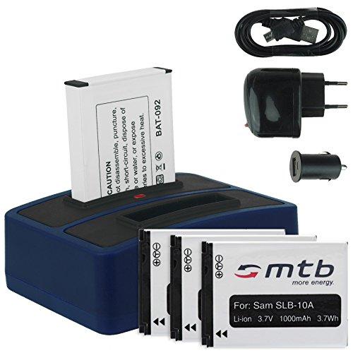 4X Baterías + Cargador Doble (USB/Coche/Corriente) para Samsung SLB-10A / Toshiba Camileo X-Sports/JVC Adixxion/Silvercrest/Medion Action CAM. v. Lista